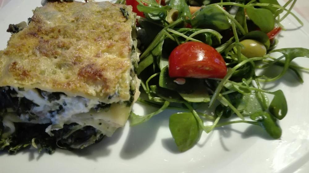 Lasagne van zalm en spinazie met een frisse salade